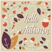 Conception de cartes d'automne avec cadre floral et message typographique vecteur