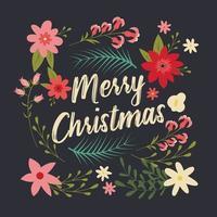 Carte de Noël typographique avec des éléments décoratifs floraux vecteur