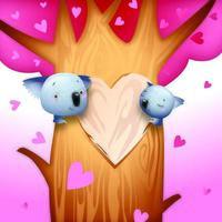 Ours Koala romantique Saint Valentin vecteur