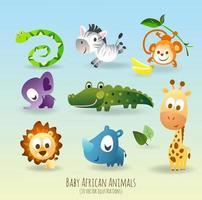 Ensemble de neuf personnages d'animaux africains ludiques vecteur