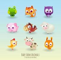 Ensemble de personnages d'animaux de ferme pour enfants vecteur