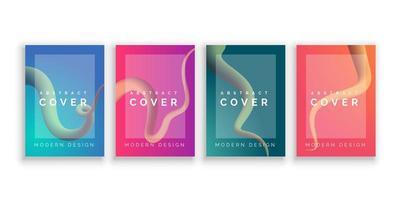 Conception de couverture de style ligne fluide colorée