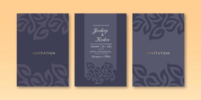 Modèle d'invitation de couleur sombre texture florale minimaliste vecteur