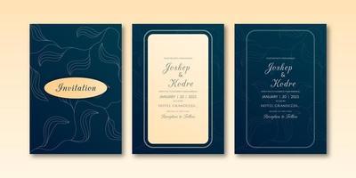 Feuilles élégantes texture invitation ensemble de thème de couleur bleu verdâtre
