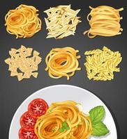 Différents types de pâtes et plat de pâtes