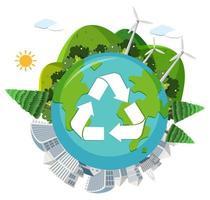 Globe de recyclage sur fond blanc vecteur