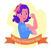 Fille heureuse journée de la flexion des femmes vecteur