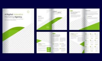 Modèle de brochure d'entreprise verte de 8 pages vecteur