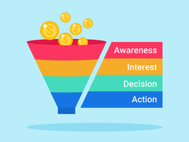 Diagramme vectoriel d'entonnoir de vente en 4 étapes