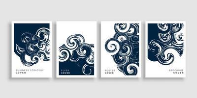 Ensemble de modèles de couverture de brochure de conception de tourbillon artistique vecteur