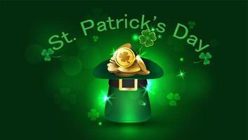 Flyer de fête de la Saint-Patrick avec chapeau et pièces vecteur