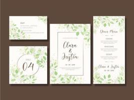Ensemble de cartes d'invitation de mariage feuillage vert élégant vecteur