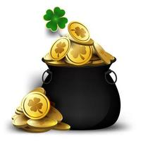 Pot d'or de la Saint-Patrick avec le trèfle vecteur