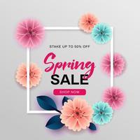 Conception de vente de printemps avec cadre blanc et fleurs vecteur