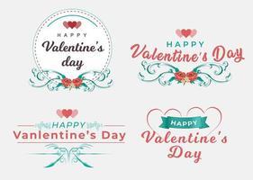 insignes de typographie de la Saint-Valentin vecteur