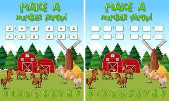 Modèle de jeu de mathématiques de ferme avec des chevaux et des objets de ferme vecteur