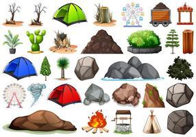 Collection d'objets sur le thème de la nature en plein air vecteur
