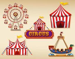 Tentes de cirque et signe sur brown vecteur