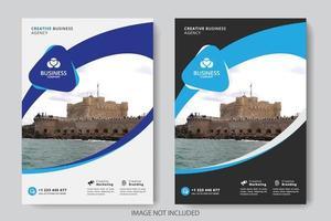 Modèle de couverture commerciale avec section arrondie pour l'image vecteur