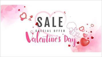 Bannière de vente Happy Valentines Day avec CUpid et coeurs vecteur