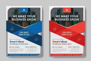 Flyer Business format A4 2 flyers couleur rouge et bleu