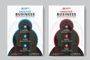 Flyer Business A4 taille 2 cercles Flyers et couleur rouge et bleu vecteur