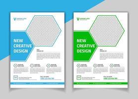 Modèle de flyer de forme hexagonale verte et bleue