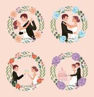 carte de mariage couple vecteur