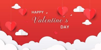Bannière de la Saint-Valentin avec des coeurs et des nuages en origami vecteur
