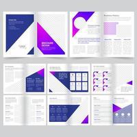 Modèle de brochure d'entreprise de 16 pages en violet vecteur