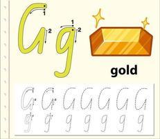 Modèle d'alphabet de traçage pour la lettre G vecteur