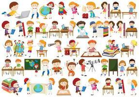 Enfants dans des activités éducatives vecteur