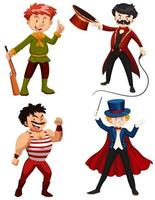 Ensemble de personnages de cirque vecteur