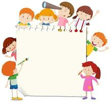 Modèle de cadre avec des enfants heureux vecteur