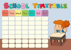 Tableau du temps scolaire avec l'élève vecteur