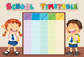 Calendrier scolaire avec les élèves vecteur