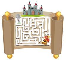 Jeu de puzzle de labyrinthe de chevalier vecteur