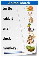 Feuille de calcul pour les animaux en anglais vecteur