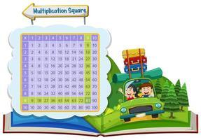 Scène de vacances Carré de multiplication mathématique