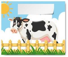 Une vache à la ferme vecteur