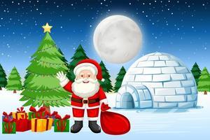 Père Noël avec des cadeaux dans la neige vecteur