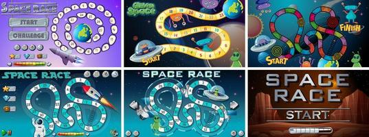Ensemble de jeux et d'activités spatiaux vecteur