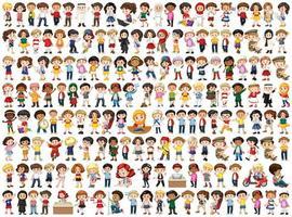 Enfants avec différentes nationalités définies vecteur