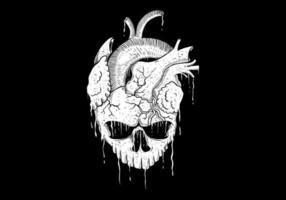 Dessin de coeur de crâne vecteur