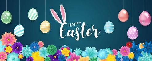 Joyeuses Pâques fond avec des œufs suspendus vecteur