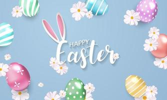 Fond de Pâques avec des fleurs et des œufs brillants
