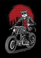 Illustration de cavalier de moto de chat vecteur
