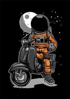 Astronaute sur scooter vecteur