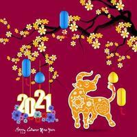 Nouvel an chinois 2021 année avec fleurs d'abricot et bœuf vecteur
