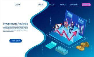 Concept d'analyse d'investissement avec style ondulé vecteur